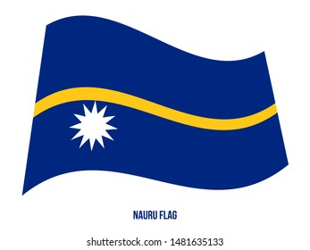 Nauru Flag Waving Vector Illustration on White Background. Nauru National Flag.