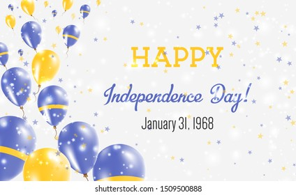 Nauru Independence Day Greeting Card. Flying Balloons in Nauru National Colors. Happy Independence Day Nauru Vector Illustration.