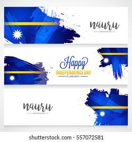Nauru independence day of header or banner background.