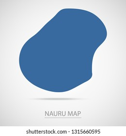 Nauru map. Blue Nauru map and Country name . Vector map on gray background. Map of Oceania . Eps10.