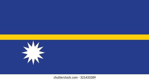 Nauru national flag. Vector illustration of Nauru flag