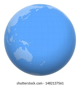 Nauru on the globe. Earth centered at the location of the Republic of Nauru. Map of Nauru. Includes layer with capital cities.
