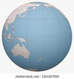Nauru on the globe. Earth hemisphere centered at the location of the Republic of Nauru. Pleasant Island map.