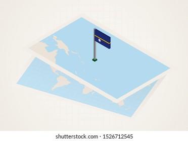 Nauru selected on map with isometric flag of Nauru. Vector paper map.