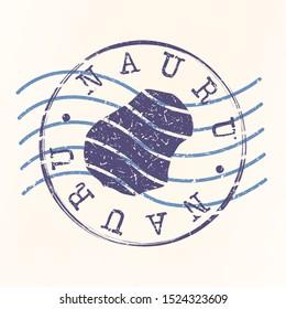 Nauru Stamp Postal. Map Silhouette Seal. Passport Round Design. Vector Icon. Design Retro Travel.