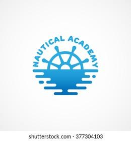 Nautical academy logo template design. Vector illustration.