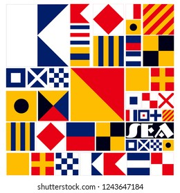 Nautical Alphabet signal flags. Vector drawing related to nautical. EPS format vector illustration. It can be used for various printing drawings, fabric, textile, flag and for decoration purposes.