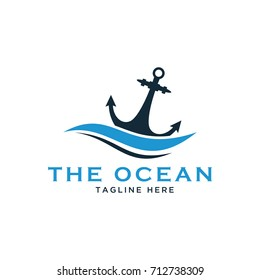 nautical anchor design logo template