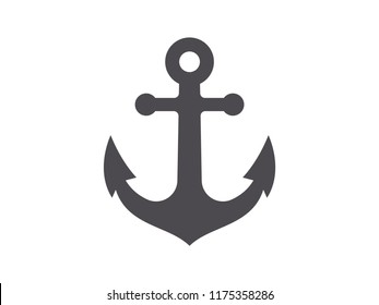Nautical anchor icon isolated on white background. Vector illustration