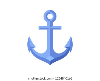 Nautical anchor icon isolated on white background. Flat design. Vector illustration