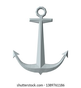 Nautical anchor. Isolated on white background. 3D vector illustration. Front view.