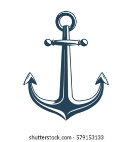 Nautical Anchor isolated white background. Ship anchor, vintage icon. Vector illustration for marine and heraldry design. EPS 10.