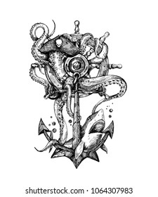 Nautical Anchor with rope, Hand Drawn Sketch Vector illustration.