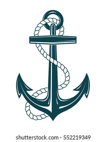 Nautical Anchor with rope. Vector illustration isolated