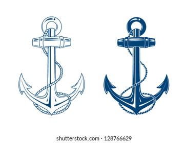 Nautische Anker, Vektorgrafik einzeln auf Weiß, Blau