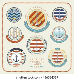 Nautical anchors label set in blue, yellow and red colours