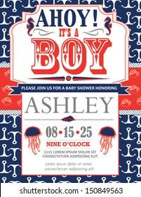 Nautical Baby Shower Card Invitation for Boys