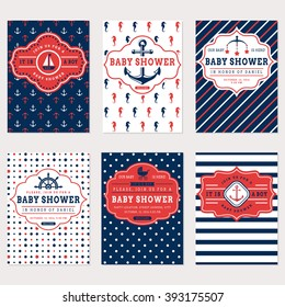 Nautical baby shower cards. Sea theme baby party invitations. Collection of cute banners in white, red and blue colors. Vector set.