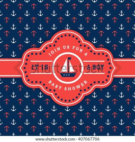 Nautical Baby Shower Sea Theme Baby Stock Vector (Royalty Free ...