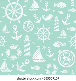 Nautical background, seamless, green, vector. The attributes of a sea voyage on a mint background. White pictures drawn with diagonal hatching. Vector pattern.