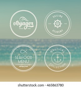 Nautical badges set on blurred sea background. Vector illustration
