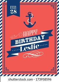 nautical birthday card template vector/illustration