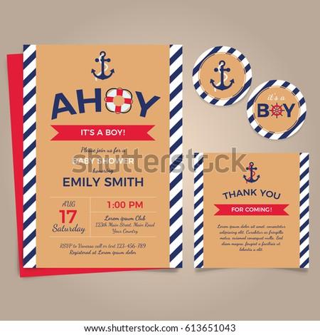 Nautical Birthday Invitation Design Template Vector De Stock Libre