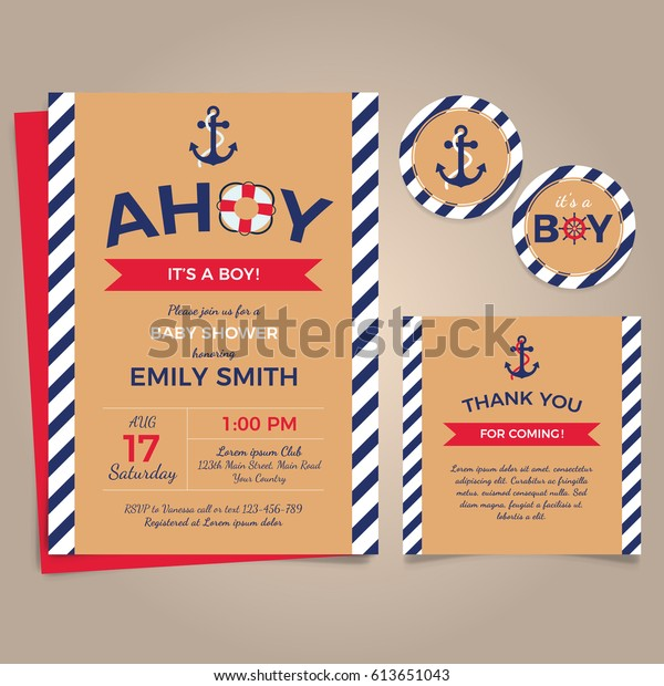 Nautical Birthday Invitation Design Template Stock Vector Royalty