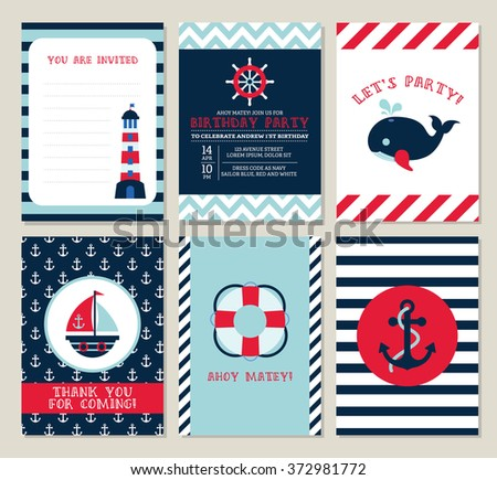 Nautical Birthday Invitation Party Template Set