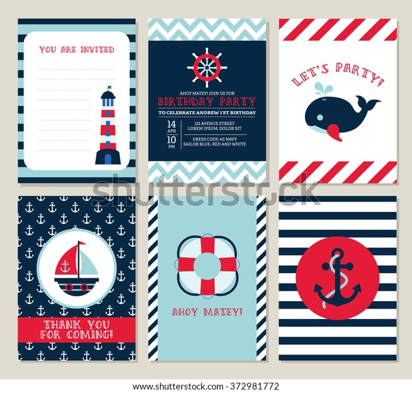 Nautical Birthday Invitation Party Template Set Stock Vector