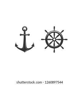 Nautical black helm and anchor isolated on white. Ship and boat steering wheel sign. Rudder label. Nautical maritime illustration. sea and ocean symbol.Vector flat illustration