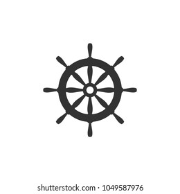 Nautical black helm isolated on white. Ship and boat steering wheel sign. Boat wheel control icon. Rudder label. Vector flat illustration.