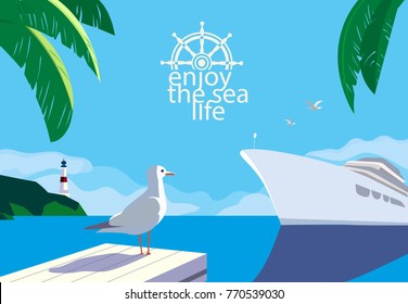 Nautical blue sea scenic view. Cruising ship tour vacation concept. Ocean cruise liner sailing colorful cartoon. Seagull on blue calm sea coast. Vector tourist trips relax advertisement background