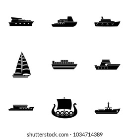 Nautical boat icons set. Simple set of 9 nautical boat vector icons for web isolated on white background