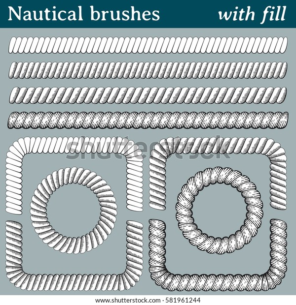 Nautical brushes, with fill. 4 different brushes of nautical ropes with the interior filled with white. All brushes include outer and inner corner tiles.