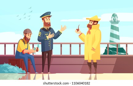 Nautical cartoon background with three sailors on fishing ship deck vector illustration