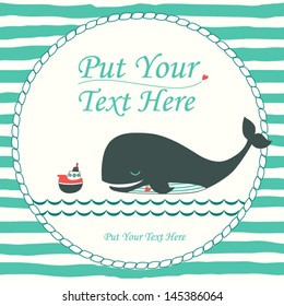 Nautical cartoon vector card with cute whale and boat. Marine invitation in bright colors. Stylish invite card.