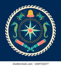 Nautical circle poster. Cartoon style with grunge effects. Compass rose, Bell, telescope, crab, sea horse. Round frame from waves
