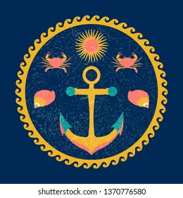 Nautical circle poster. Cartoon style with grunge effects. Anchor, sun, crab, shell. Round frame from waves