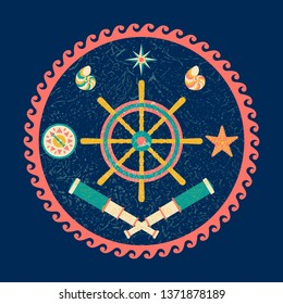 Nautical circle poster. Cartoon style with grunge effects. Steering wheel, Compass, compass rose, telescope, shell, starfish. Round frame from waves