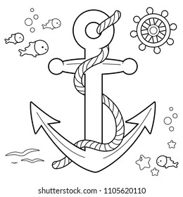 Nautical collection with anchor, boat rudder and fish with rope. Black and white coloring book page