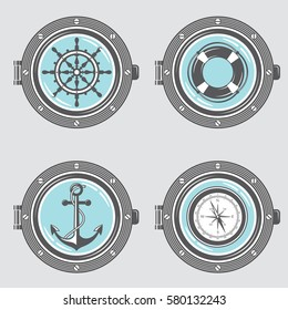 Nautical collection of portholes with anchor, ship helm, lifebuoy and compass. Vector illustration