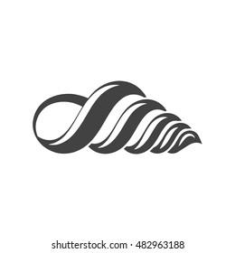 Nautical collection. Seashell communis, horn type. Black icon, logo element, flat vector illustration isolated on white background.