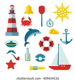 Nautical colored icon set with equipments and accessories on the marine theme isolated vector illustration