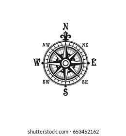 Nautical compass navigator with Wind Rose arrows. Vector isolated vintage symbol of mariner or sailor cartography and ship navigation with directions to West, East, North and South