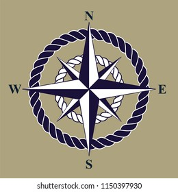 Nautical Compass Rose with Rope