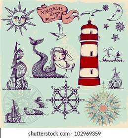 Nautical Design Elements - Whimsical set of hand drawn nautical design elements resembling medieval maritime maps