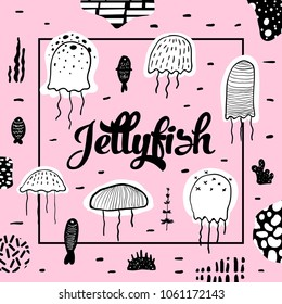 Nautical Design with Jellyfish in Childish Style. Sea Underwater Creatures Background with Abstract Elements for Decoration. Vector illustration