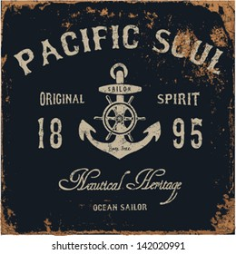 Nautical Design | Sailor vector set |Hand drawing  | T-shirt Printing | Badge Applique Label