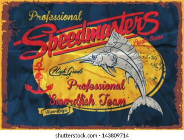 Nautical Design Sailor vector set |Hand drawing T-shirt Printing | Badge Applique Label,swordfish illustration